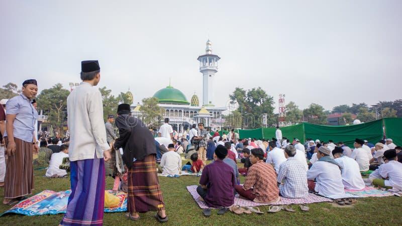 Sytuacja modlitwa w alun-alun mieście Blitar, Wschodni Jawa, Indonezja fotografia royalty free