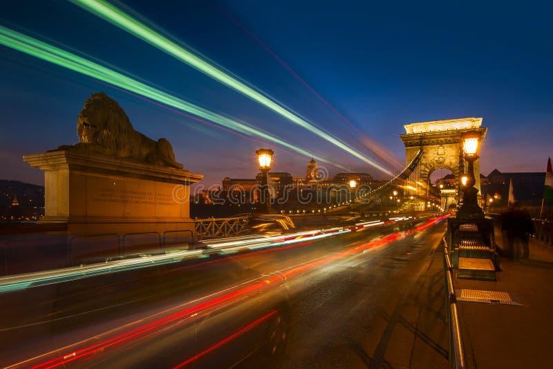 Széchenyi铁锁式桥梁在布达佩斯,匈牙利 库存照片