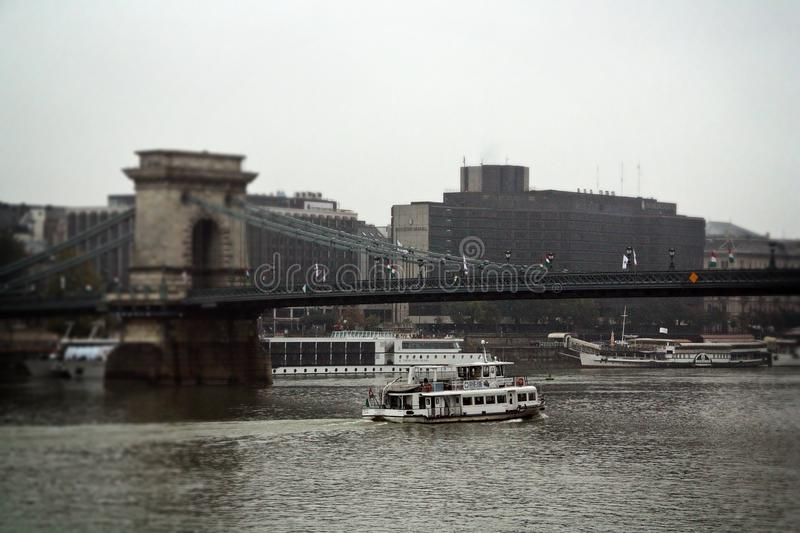 The Széchenyi Chain Bridge over the River Danube. stock images