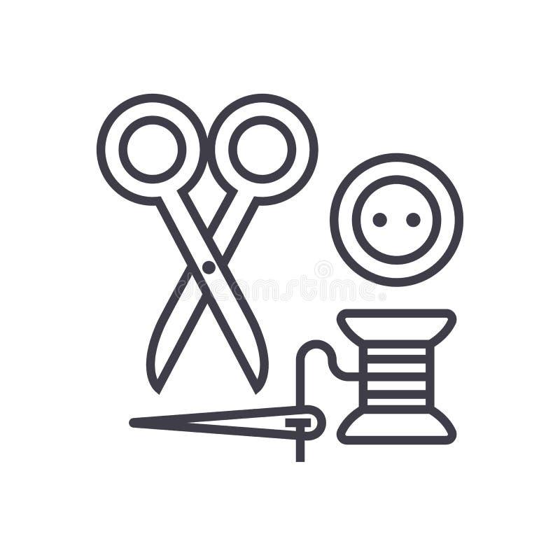 Szący, nożyce, nić, igła, guzika wektoru linii ikona, znak, ilustracja na tle, editable uderzenia ilustracja wektor