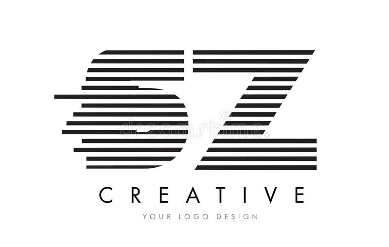 SZ S Z Zebra Letter Logo Design with Black and White Stripes stock illustration