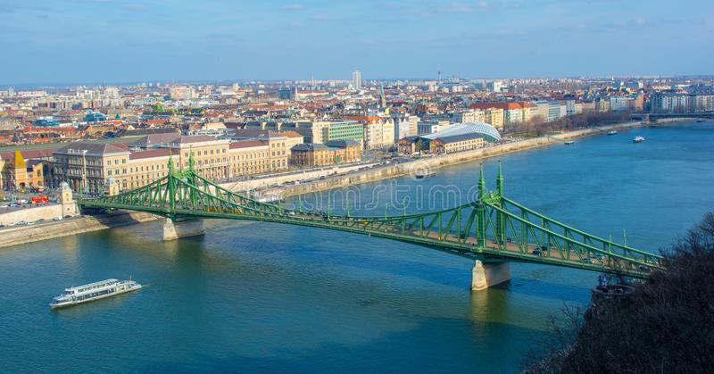 Szabadság bridge from Gellért-hegy. One of the most beautiful bridge in Budapest, Hungary. It represents the freedom royalty free stock images