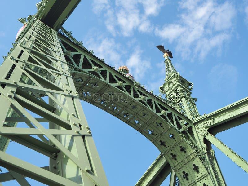 Βουδαπέστη, Ουγγαρία Αρχιτεκτονικές λεπτομέρειες της γέφυρας ελευθερίας ή της γέφυρας ελευθερίας στοκ εικόνες