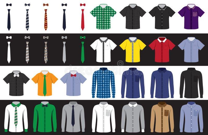 Szablonów krawaty i koszula ilustracja wektor