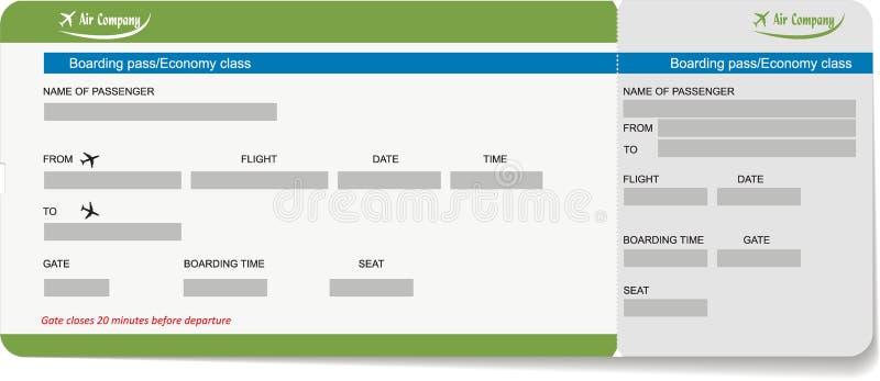 Szablon abordaż przepustka lotniczy bilet lub ilustracja wektor