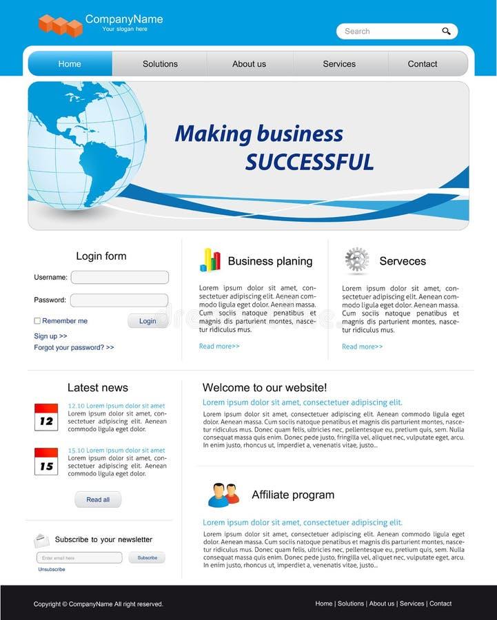 szablon biznesowa strona internetowa royalty ilustracja