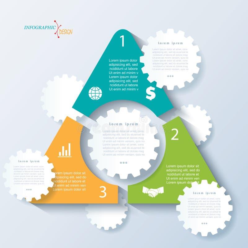Szablon biznesowy pojęcie projekt z triangleand cogwheels ilustracja wektor