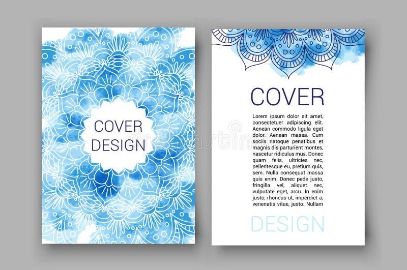 Szablon broszurki stron ornamentu wektoru ilustracja tradycyjni Islamscy, Arabscy, Indiańscy, okładkowi elementy, dekoracyjny royalty ilustracja