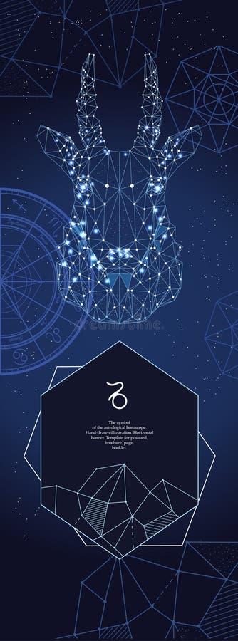 Szablon dla astrologicznego sztandaru Capricorn zodiaka znak royalty ilustracja