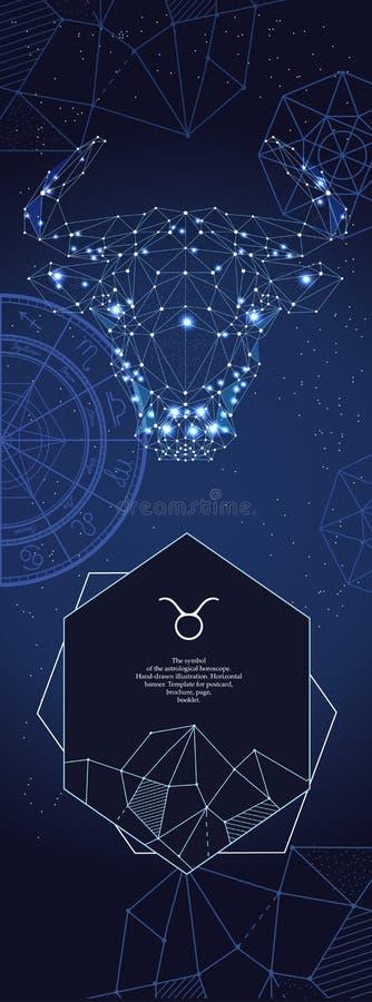 Szablon dla astrologicznego sztandaru dobre logo ?atwiejsze zmieniaj? kszta?t koszul? znak t tatua?y prostego taurus zodiak ilustracja wektor