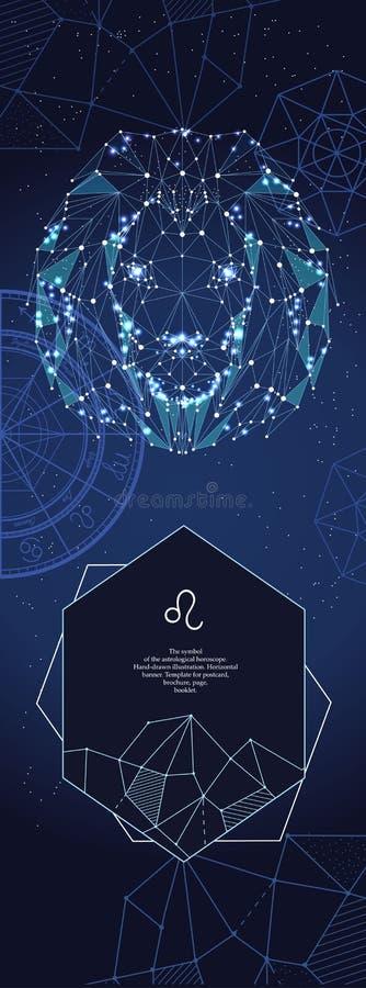 Szablon dla astrologicznego sztandaru Leo zodiaka znak royalty ilustracja