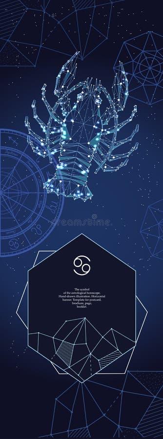 Szablon dla astrologicznego sztandaru Nowotworu zodiaka znak ilustracja wektor