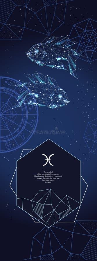 Szablon dla astrologicznego sztandaru Pisces zodiaka znak royalty ilustracja