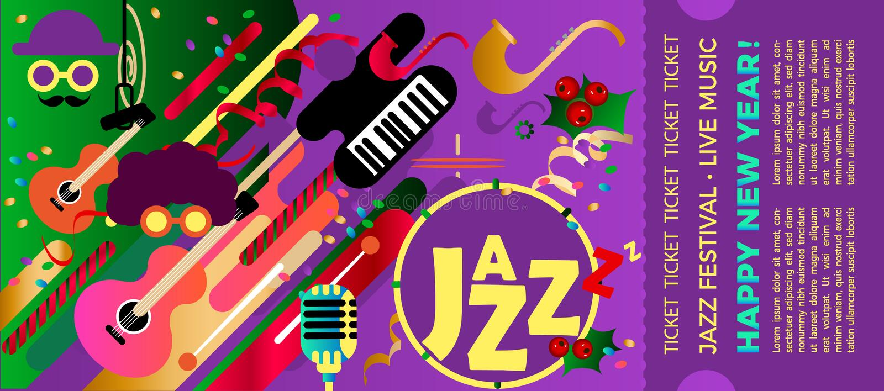 Szablon dla bileta festiwal jazzowy z instrumentami muzycznymi Kolorowy festiwal jazzowa muzyka Boże Narodzenia i nowego roku mus ilustracji