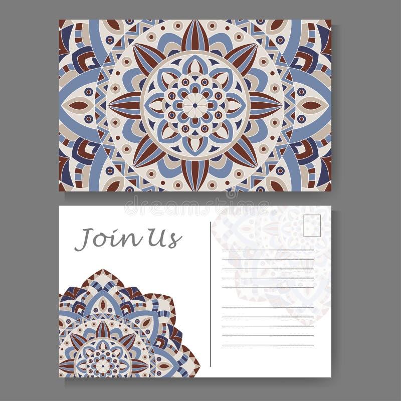 Szablon dla biznesu, zaproszenie karta Pocztówkowy tło z mandala elementem Dekoracyjny ornamentacyjny projekt ilustracja wektor