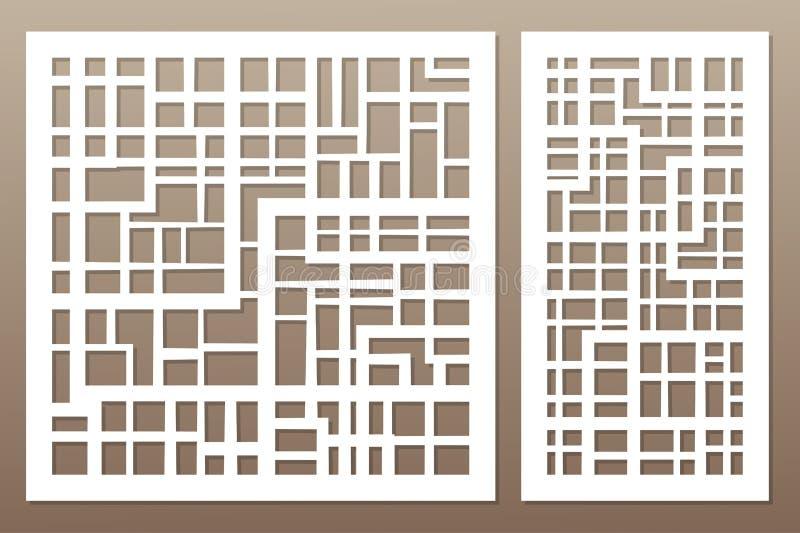 Szablon dla ciąć Abstrakt linie, kwadrat, cegła wzór las ilustracji