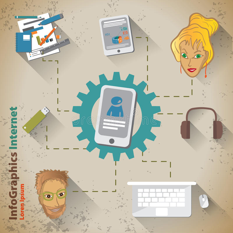Download Szablon Dla Infographic Z Smartphone W Rocznika Stylu Ilustracja Wektor - Ilustracja złożonej z elementy, komunikacja: 41952763