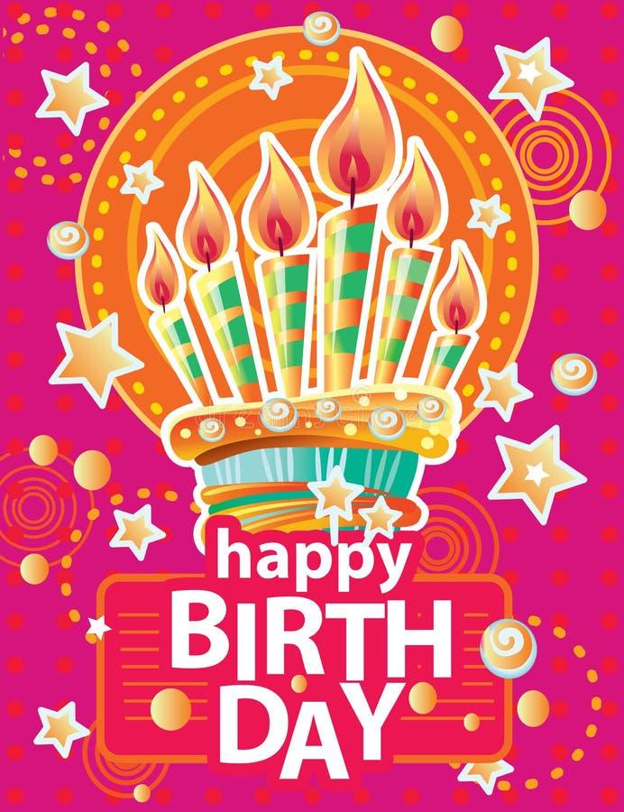 Szablon dla karty z urodzinowym tortem i świeczkami na Kolorowym tle ilustracji