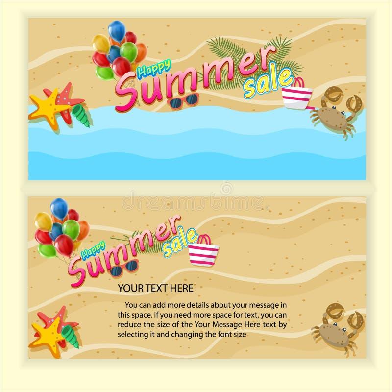 Szablon dla lato sprzeda?y Odgórny widok na lato dekoracji ilustracji