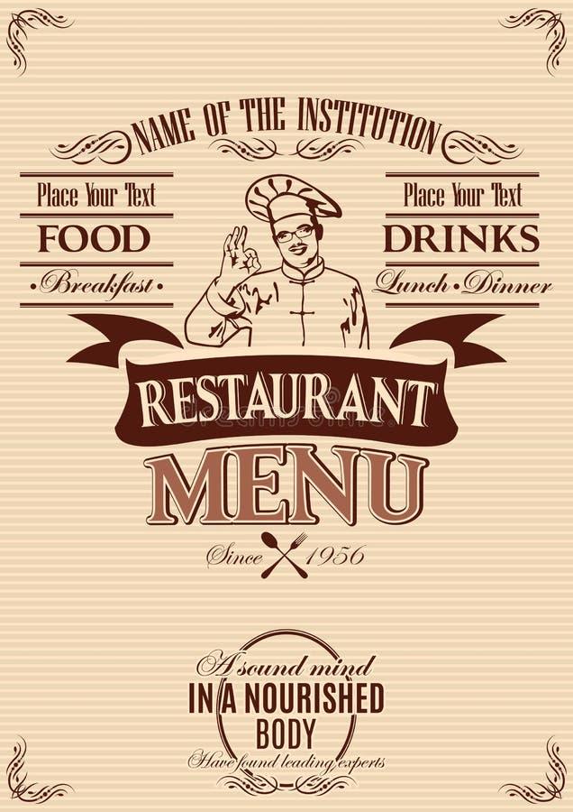 Szablon dla pokrywy menu z szefem kuchni ilustracja wektor