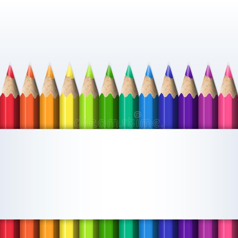 Szablon dla pokrywy pudełko Barwioni ołówki royalty ilustracja