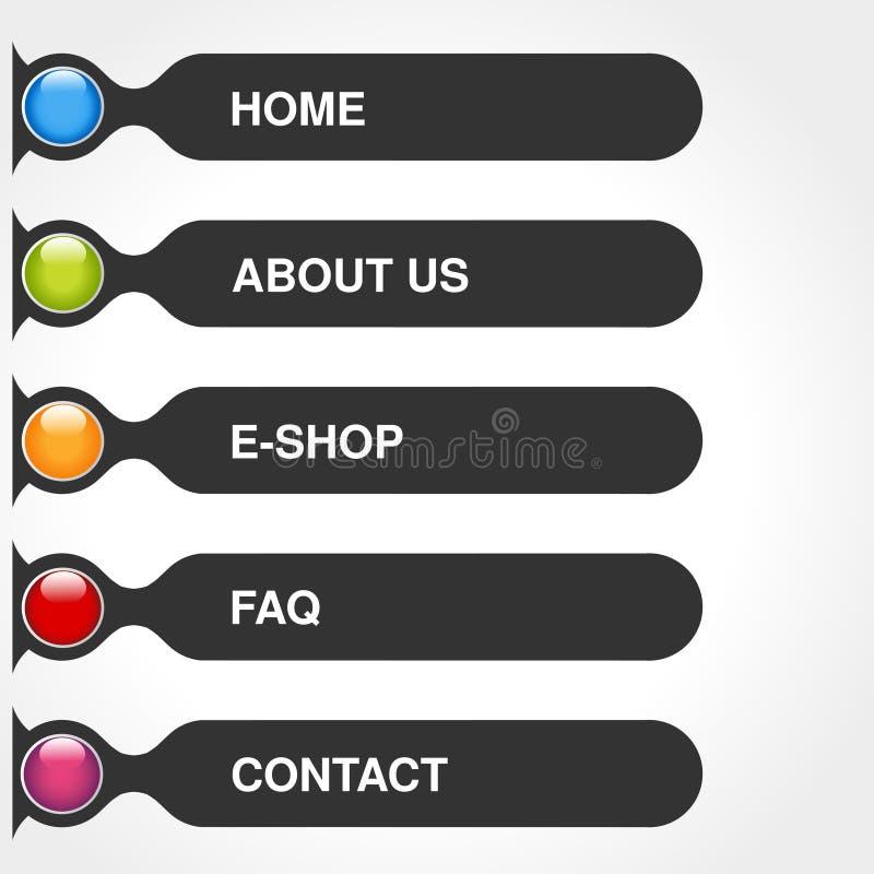Szablon dla sieci use Menu prostokąt zapina z tekstem dom, sklep, usługa, O my, FAQ, kontakt Ciemna gey etykietka Navigatio ilustracji