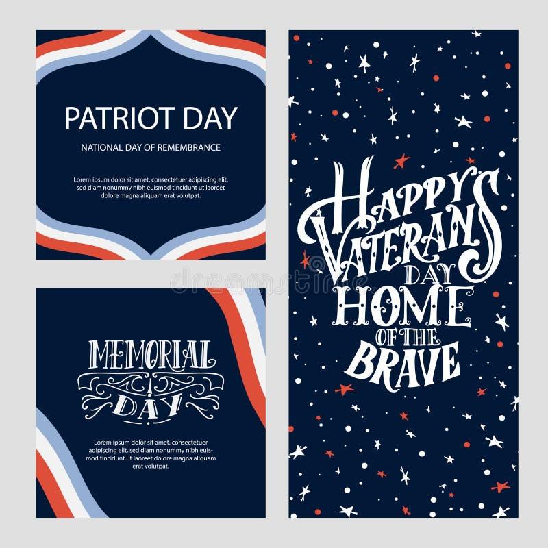 Szablon dla Szczęśliwego weterana dnia Ręki literowania projekt dla karty lub plakata Rocznika wektoru ilustracja royalty ilustracja