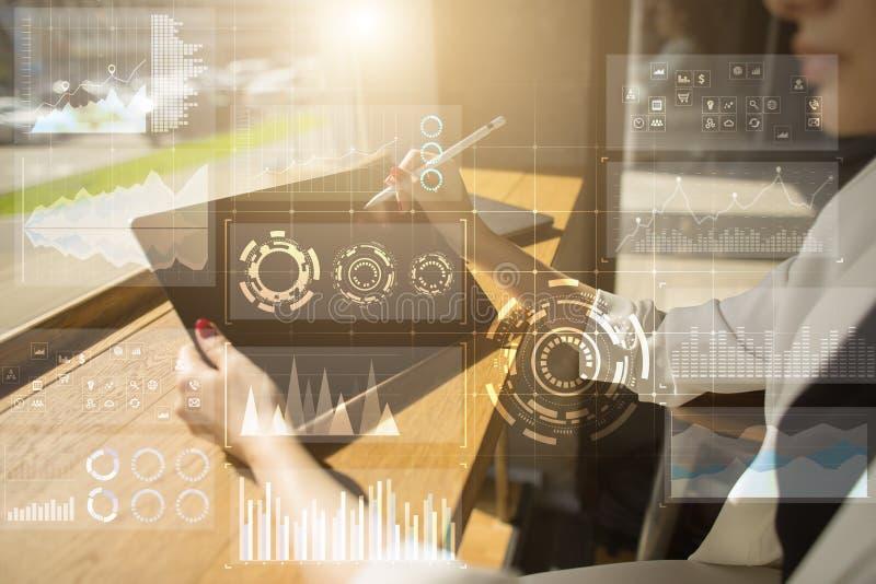Szablon dla teksta, Wirtualny parawanowy tło Biznes, internet technologia i networking pojęcie, zdjęcia stock