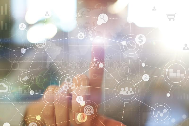Szablon dla teksta, Wirtualny parawanowy tło z ikonami Biznes, internet technologia i networking pojęcie, royalty ilustracja