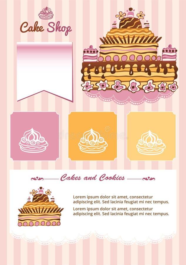 Szablon dla torta sklepu ilustracji