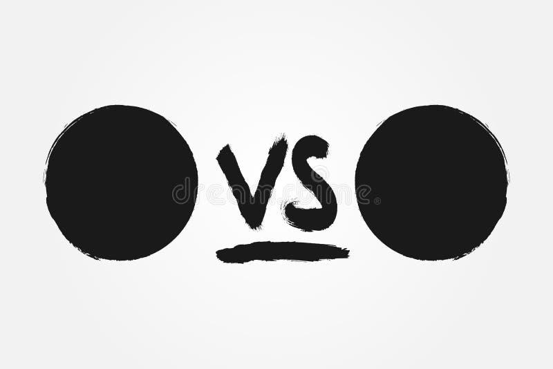 Szablon dla versus Round handwriting VS i tła Rysujący z szorstkim muśnięciem ilustracji