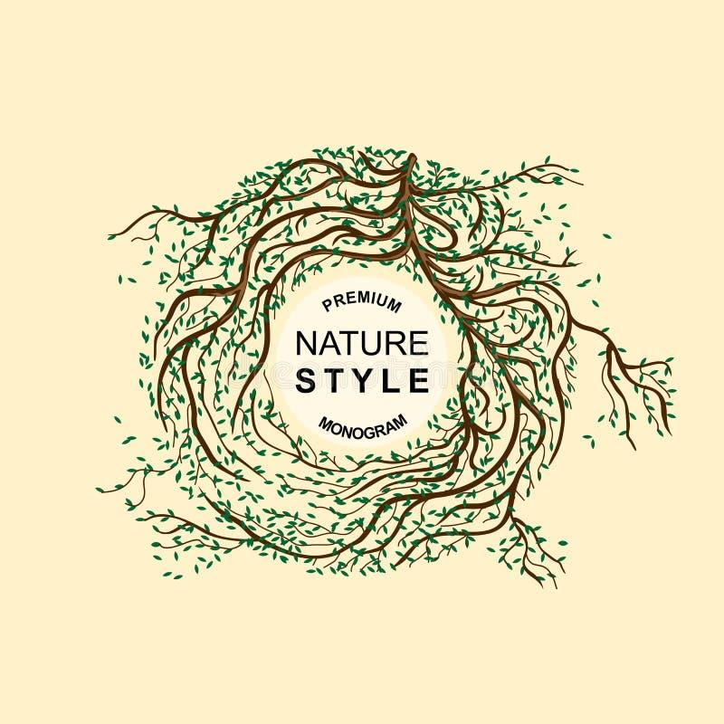 Szablon etykietki, monogram, logo, emblemat Gałąź drzewa splatający royalty ilustracja