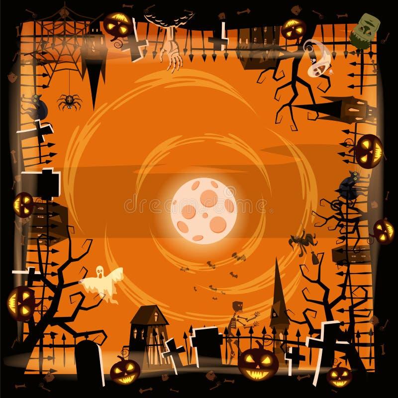 Szablon Halloweenowa wakacyjna bania, cmentarz, czerni zaniechanego kasztel, atrybuty wakacje Wszystkie święty, duch royalty ilustracja