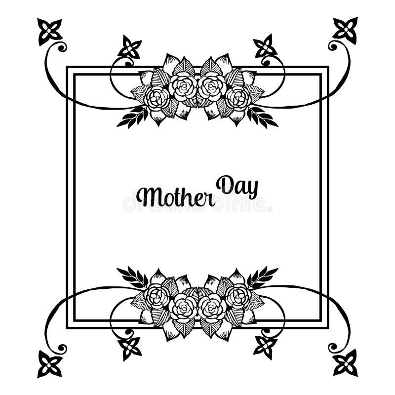 Szablon karciany macierzysty dzień, karta, tekstura kwiatu elegancka ramy, kartki z pozdrowieniami lub świętowania zaproszenia, w royalty ilustracja