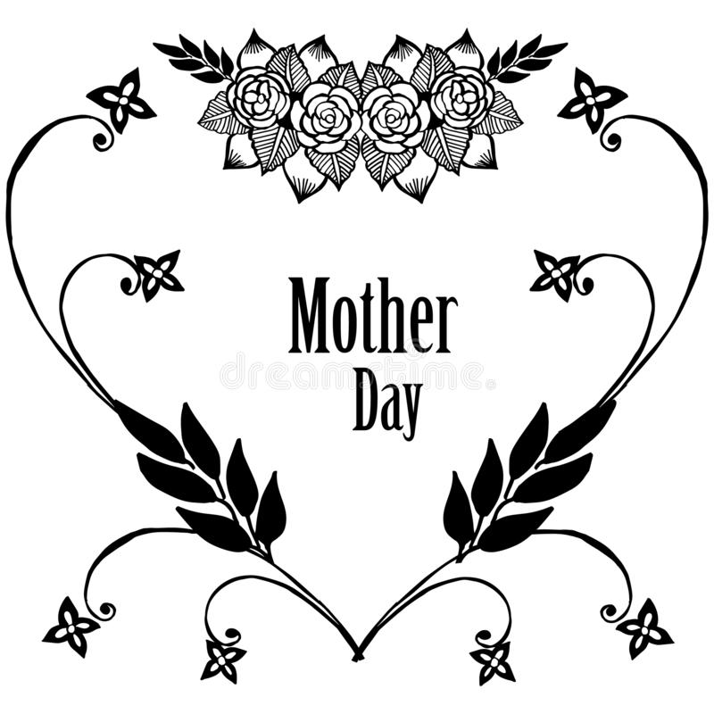 Szablon karciany macierzysty dzień, karta, tekstura kwiatu elegancka ramy, kartki z pozdrowieniami lub świętowania zaproszenia, w ilustracja wektor