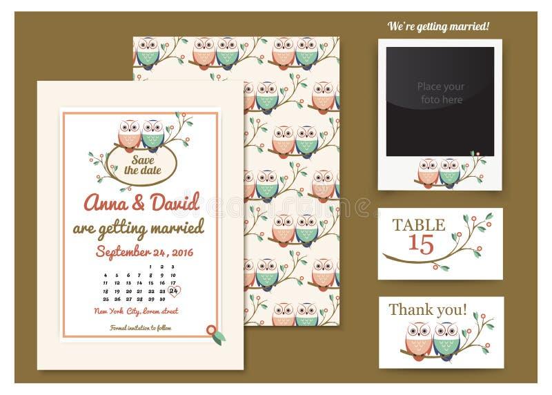 Szablon karta z sowami na gałąź 2007 pozdrowienia karty szczęśliwych nowego roku Rysunkowa sowy para Ślubny zaproszenie, dziękuje ilustracja wektor