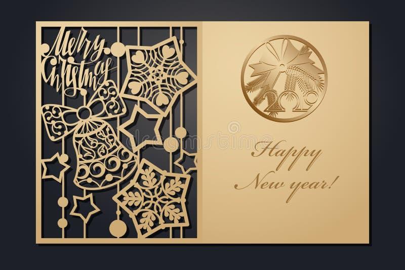 Szablon kartki bożonarodzeniowe dla laserowego rozcięcia Przez sylwetka nowego roku obrazka również zwrócić corel ilustracji wekt ilustracja wektor