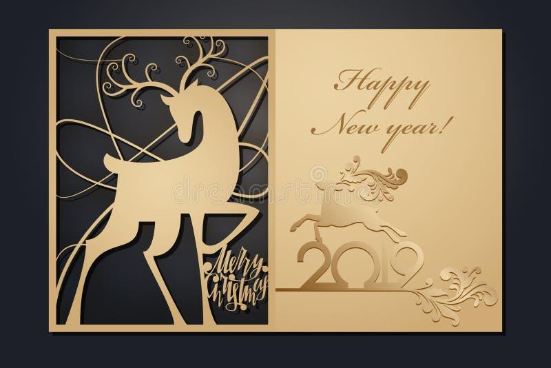 Szablon kartki bożonarodzeniowe dla laserowego rozcięcia Przez sylwetka nowego roku obrazka również zwrócić corel ilustracji wekt royalty ilustracja