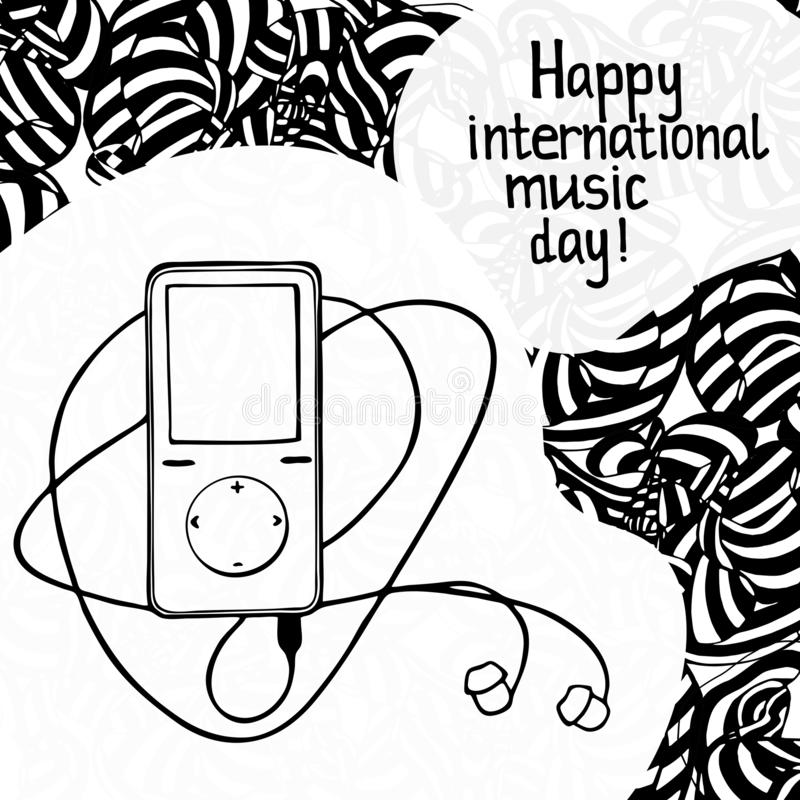 Szablon karty graficznej dnia muzyki międzynarodowej Gracz muzyczny ze słuchawkami i frazą 'Happy international music day royalty ilustracja