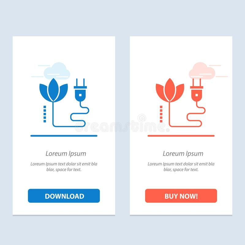Szablon karty graficznej sieci Web Biomass, Energy, Cable, Plug Blue i Red Download and Buy Now ilustracji