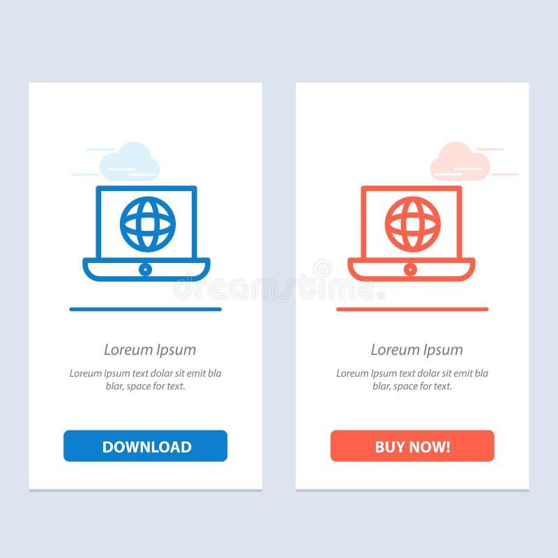 Szablon karty graficznej sieci Web do laptopów, świata, globów, błękitów i czerwieni ilustracji