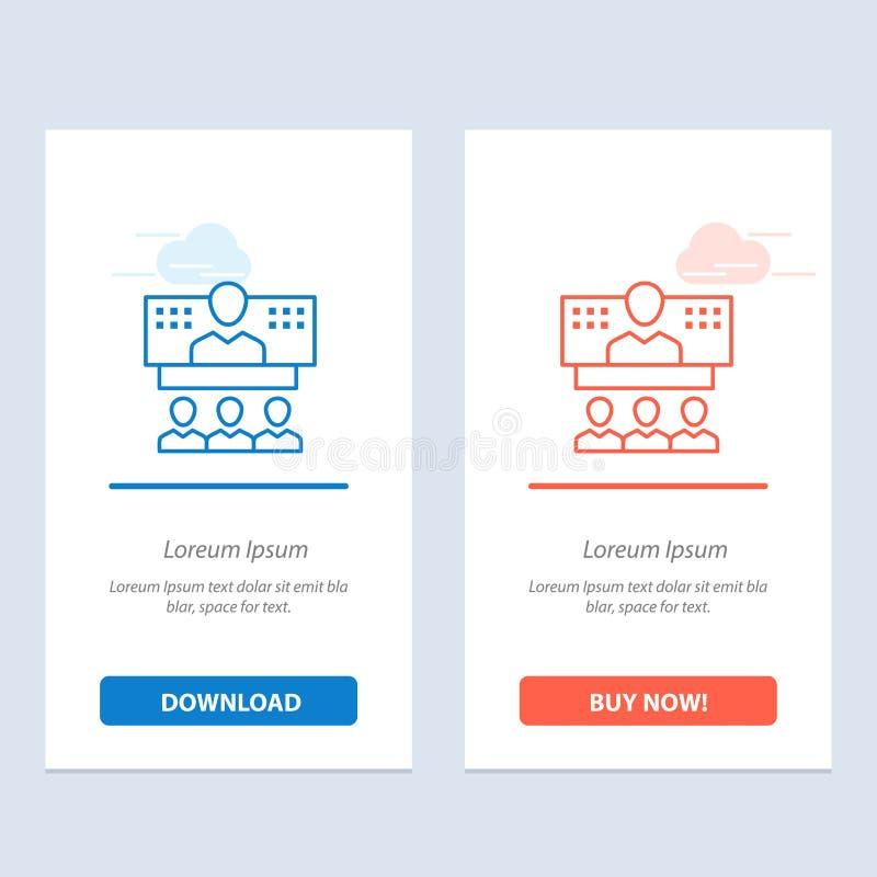 Szablon karty graficznej sieci Web do pobierania i kupowania teraz — konferencje, biznes, połączenia, Internet, niebieski i czerw royalty ilustracja