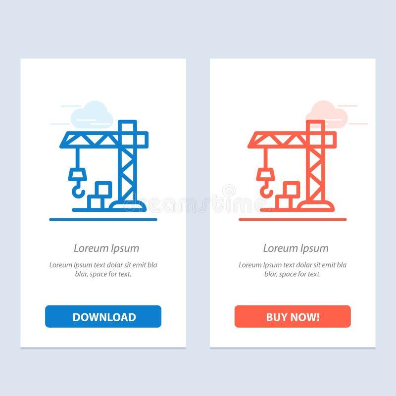 Szablon karty graficznej sieci Web dotyczącej architektury, budownictwa, błękitu żurawi i czerwieni royalty ilustracja