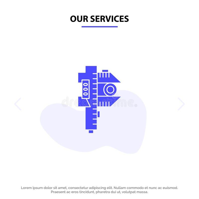 Szablon karty sieci Web z ikoną małego glifu o małych rozmiarach, dokładność, pomiar ilustracja wektor