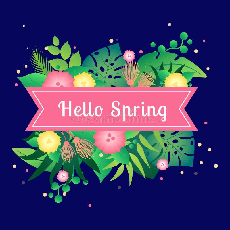 Szablon karty wiosna z tropikalnymi liśćmi cześć royalty ilustracja