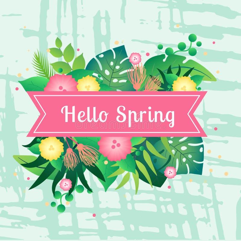 Szablon karty wiosna z tropikalnymi liśćmi cześć ilustracji