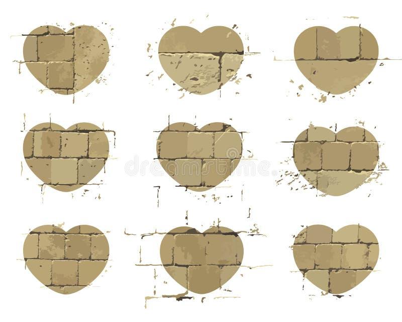 Szablon Kierowe ikony z wzorem ściana z cegieł i liniami moździerz Textured stylizowani elementns dla twój projekta wektor ilustracja wektor