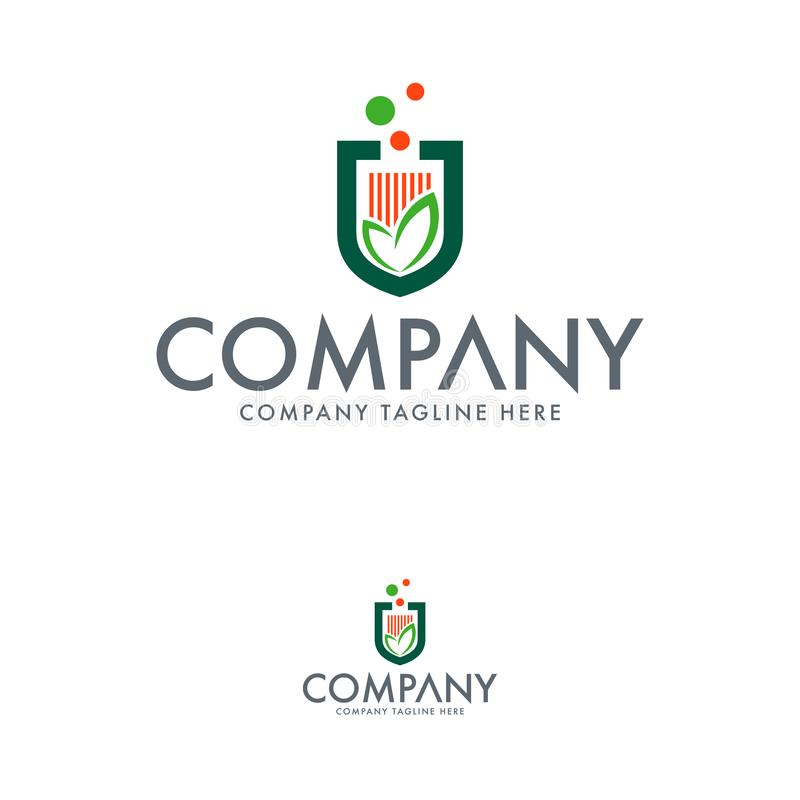 Szablon logo kreatywnego rolnictwa. Logo programu Natura Particule ilustracja wektor
