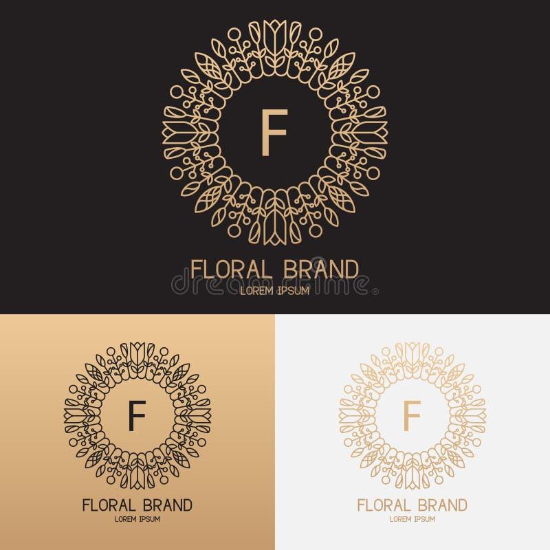 Szablon logo w modnym liniowym stylu z kwiatami ilustracja wektor