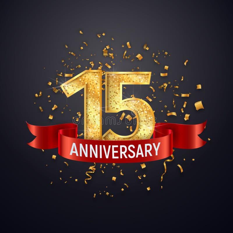 Szablon logo z rocznicą 15 lat na ciemnym tle Piętnaste świętowanie złotych liczb z czerwonym wektorem wstążki i konfetti ilustracja wektor
